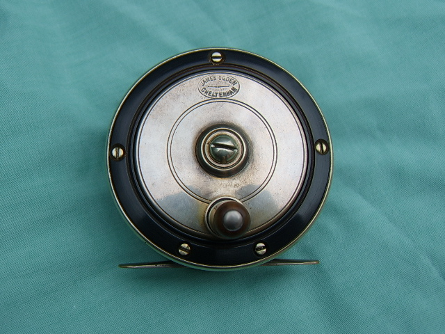 James Ogden of Cheltenham ebonite and silver plate reel, circa 1900