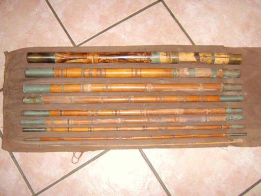 BEFORE, loose, missing and corroded male/female ferrules, whippings and guides missing or damaged, cane split in places,