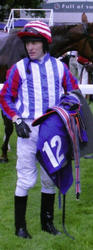 Keiron Fallon displays our racing colours at Newbury