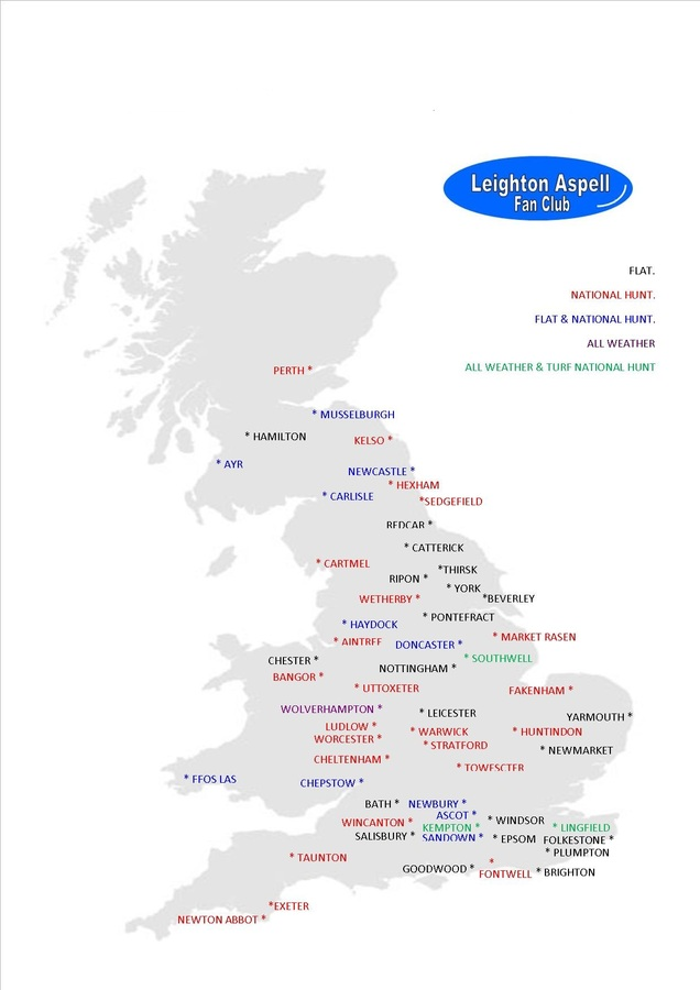 Map Of Uk Race Tracks.British Racecourses Map