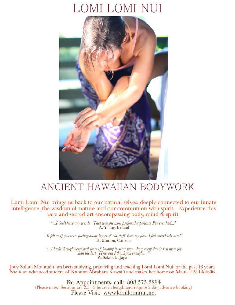 infomaterial lomi lomi massage